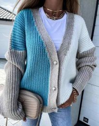 Атрактивна свободна плетена дамска жилетка в синьо и бежово - код 9251 - 2