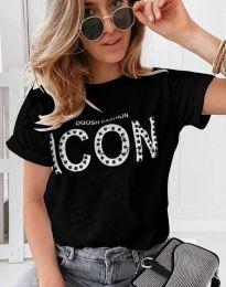 Κοντομάνικο μπλουζάκι - κώδ. 4357 - μαύρο
