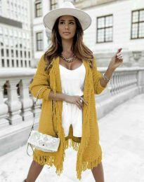 Ефектна дълга плетена дамска жилетка в цвят горчица - код 4702
