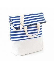 Плажна чанта на синьо райе от текстил - код H - 9029 - 2