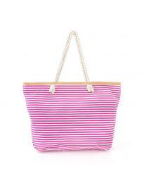 Цикламена плажна чанта на райе с въжени дръжки - код H-9030