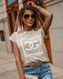 Κοντομάνικο μπλουζάκι - κώδ. 6698 - μπεζ