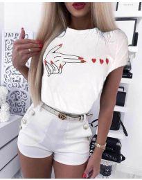 Κοντομάνικο μπλουζάκι - κώδ. 945 - λευκό