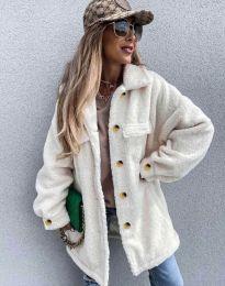 Дамско свободно меко палто с копчета в шампанско - код 4967