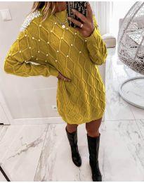 Φόρεμα - κώδ. 3480 - μουσταρδί