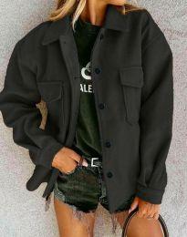 Дамско свободно късо палто в черно - код 4984