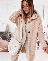 Дамска свободна плетена жилетка в цвят пудра - код 2972