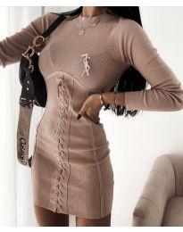 Φόρεμα - κώδ. 4453 - 3 - μπεζ