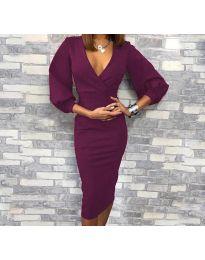 Φόρεμα - κώδ. 8706 - 3 - σκούρο μωβ