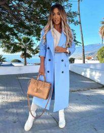 Дълго дамско палто с копчета в синьо - код 3854