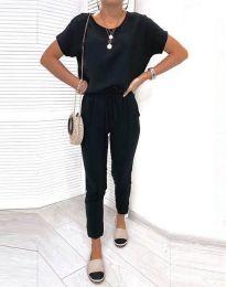 Спортен комплект блуза и панталон в черно - код 2986
