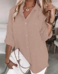 Дълга свободна дамска риза в цвят пудра - код 0239