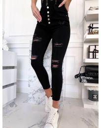 Накъсани дамски дънки в черно - код 4276