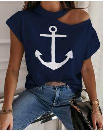 Κοντομάνικο μπλουζάκι - κώδ. 18299 - 1 - σκούρο μπλε