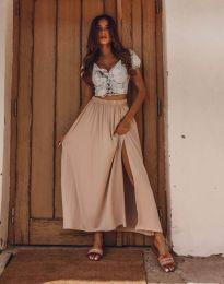 Дамска пола в цвят бежово с цепка - код 8231