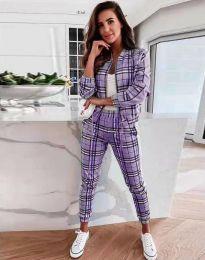 Спортен дамски комплект яке и панталон в лилаво каре - код 5684