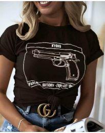 Дамска тениска с принт в черно - код 3024