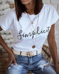 Дамска блуза в бяло с принт - код 4349