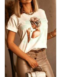 Дамска тениска в бяло с принт - код 5189