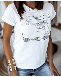 Κοντομάνικο μπλουζάκι - κώδ. 3024 - 2 - λευκό