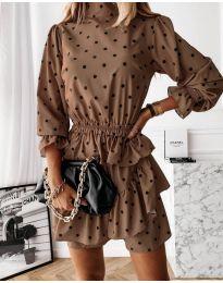 Φόρεμα - κώδ. 3665 - καφέ