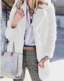 Дамско зимно пухено палто с копчета в бяло - код 4664