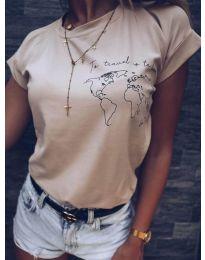 Κοντομάνικο μπλουζάκι - κώδ. 475 - 3 - καπουτσίνο