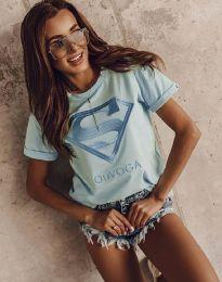 Дамска тениска в светлосиньо с апликация - код 3324