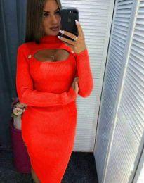 Φόρεμα - κώδ. 2144 - 7 - πορτοκαλί