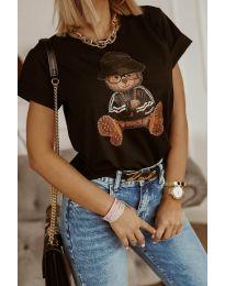Дамска тениска в черно с принт - код 5360