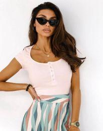 Κοντομάνικο μπλουζάκι - κώδ. 11806 - ροζ