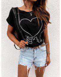 Дамска тениска в черно с принт - код 2266