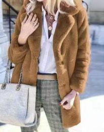 Дамско пухено зимни палто с копчета в кафяво - код 4664