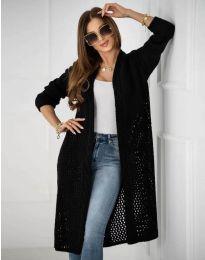Атрактивна дълга плетена дамска жилетка в черно - код 7361