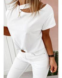 Атрактивна дамска тениска в бяло - код 37255