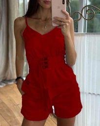Дамски комплект потник и къси панталонки в червено - код 3657