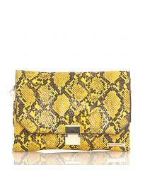 Дамска чанта със змийски десен в жълто с капак и метално закопчаване - код DM-04