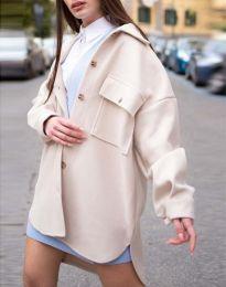 Дамско свободно палто с копчета в бежово - код 4070