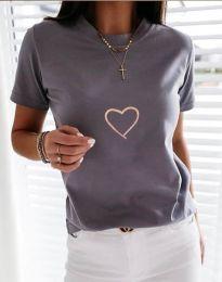 Дамска тениска в сиво - код 3701