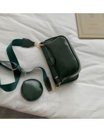 Дамска чанта в масленозелено с два джоба с цип - код 3344
