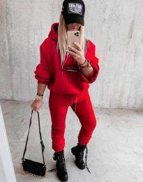 Дамски свободен спортен комплект с долнище и суичър с качулка в червено - код 12095