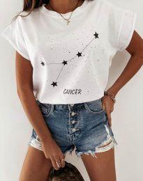 Дамска тениска с принт зодия рак в бяло - код 2342
