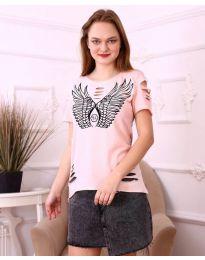 Κοντομάνικο μπλουζάκι - κώδ. 3567 - ροζ