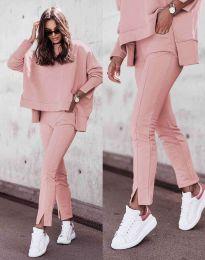 Дамски спортно-елегантен комплект долнище и свободна блуза с дълъг ръкав в розово - код 3171