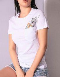 Κοντομάνικο μπλουζάκι - κώδ. 2447 - 3 - λευκό