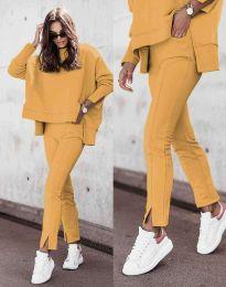Дамски спортно-елегантен комплект долнище и свободна блуза с дълъг ръкав в цвят горчица - код 3171
