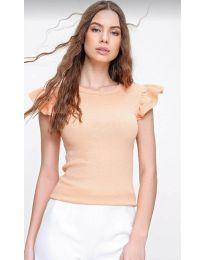 Тениска с ефектни ръкави в оранжево - код 2611