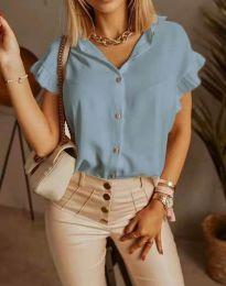 Дамска риза къс ръкав с къдрици в синьо - код 4136