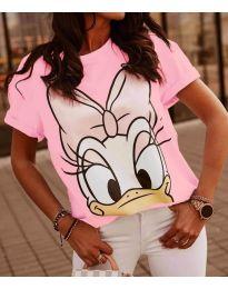Κοντομάνικο μπλουζάκι - κώδ. 4088 - 3 - ροζ