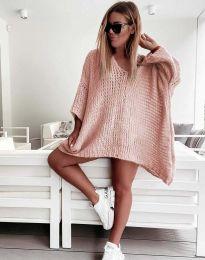 Свободна дамска плетена туника в цвят пудра - код 4167